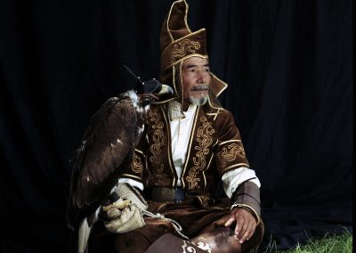 Abylkhaq Turlybayer and golden eagle