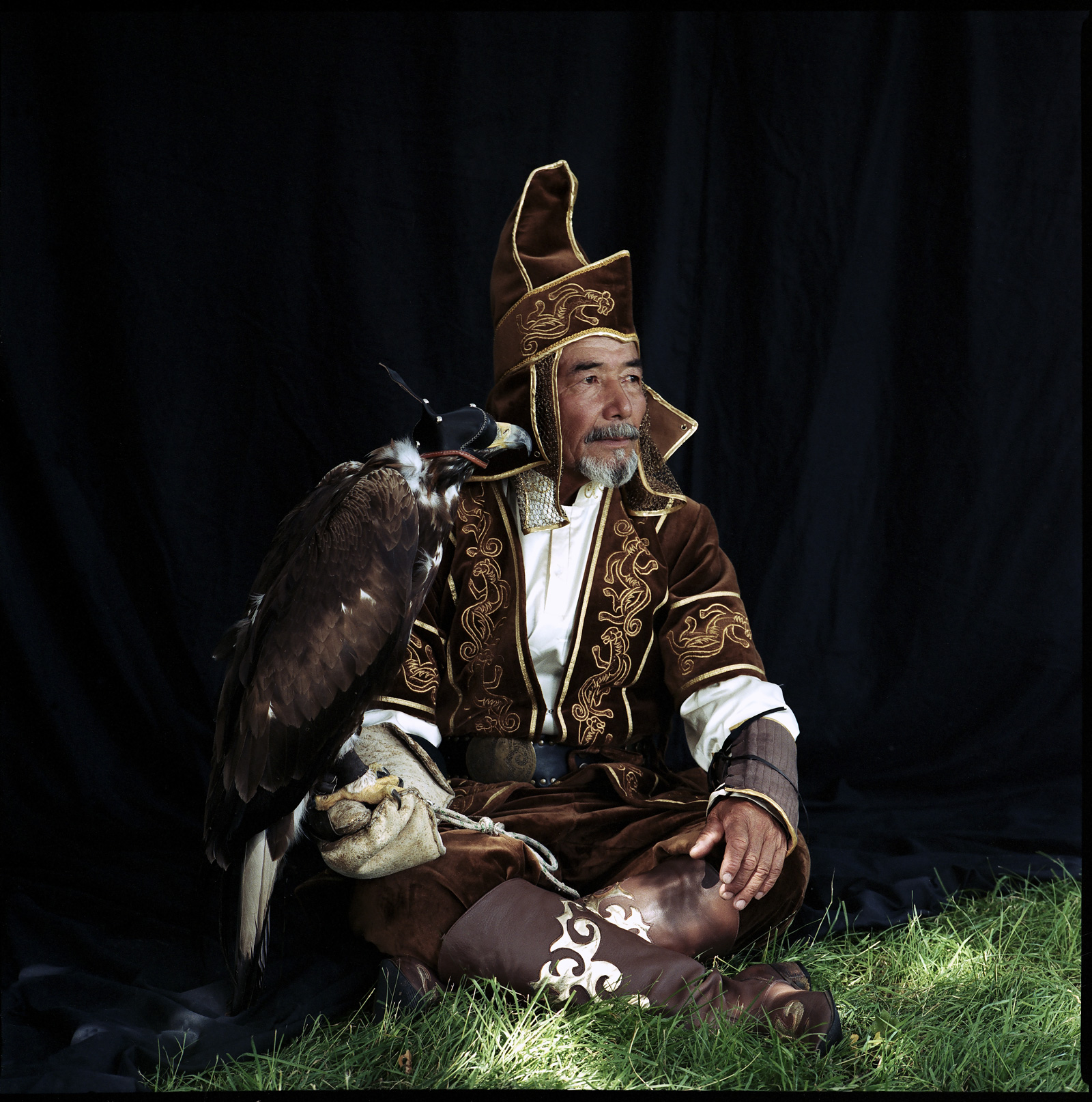 "Abylkhaq Turlybayer and golden eagle    £300.00    Hahnemuhle Photo Silk Baryta fine art print, signed limited edition of 10    Size: 12"" x 12"""