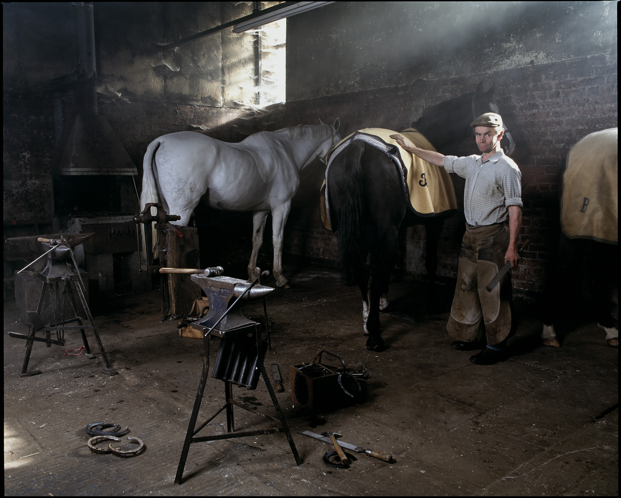 "Bernard Tidmarsh, Farrier    £500.00    Hahnemuhle Photo Silk Baryta fine art print, signed limited edition of 10    Size: 15.5"" x 12"""